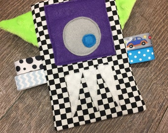 READY TO SHIP Checkered Monster Crinkle Toy