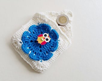 """White Blue  and OWL Crochet coin purse  - 8,5 cm (3.35""""), childs money purse, crochet small purse, credit card purse,  cards small purse,"""