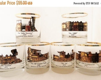 ON SALE Vintage, Galaxy, Mid Century Rocks Glasses Featuring Famous Locomotives and Trains, Set of Six, Lowball, Whisky, Rocks, Barware