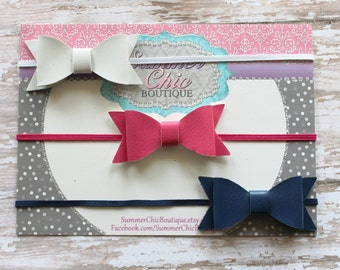 Baby Headband, Bow Headband,  Bright Pink Baby Headband,  Infant Headband, Newborn Headband, Set of Faux Leather Bows, Navy Baby Headband