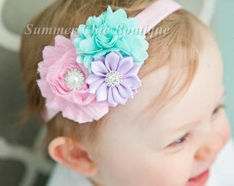 Baby Headband, Easter Baby Headband Headband, Infant Headband, Newborn Headband, Light Pink, Aqua Seafoam and Lavender, Pastel Headband,