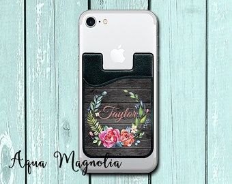 Floral Wreath - Weathered Wood - Personalized - iPhone Card Caddy - Phone Wallet - Monogrammed - ID Holder - Credit Card Holder