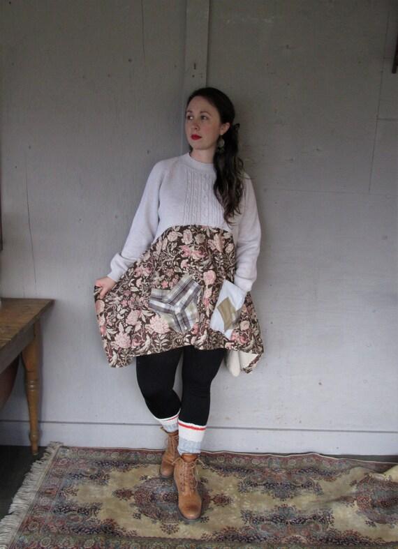 Upcycled tunic Artsy clothing Romantic top Lagenlook shirt