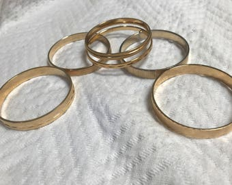 Set of Six Vintage 1960's Gold Metal Bangles by Monet