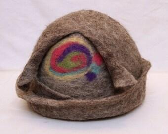 Women Hat Hand Felted Merino Wool : Grey Hat