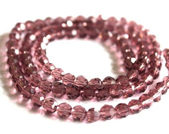 6 mm Amethyst 32-Facet Round Chinese Crystal Beads