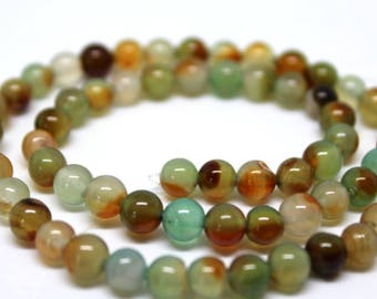 6 mm Teal, Brown and Green Rainbow Agate Semi Precious Gemstone Beads