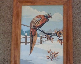 Vintage Paint by Number Painting of Pheasant on a Branch