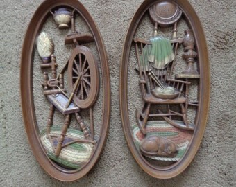 Vintage Mid Century Burwood Country Theme Wall Plaques A Pair