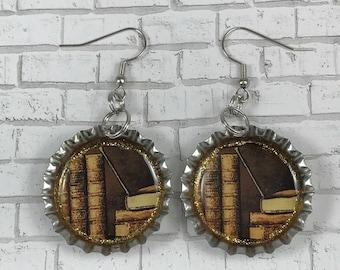 Vintage Book Earrings Bottle Cap Earrings Book Lover Leather Books Reading Teacher Book Nerd Repurposed Jewelry