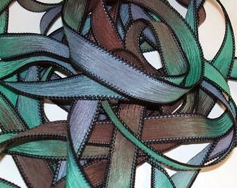 "High Tide 42"" hand  dyed silk ribbon//Silk wrist wrap bracelet ribbons// Silk wrap ribbons// Silk ribbon //By Color Kissed Silk LLC."