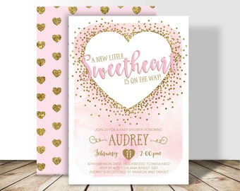 A Little Sweetheart Valentine Baby Shower Printable PDF Invitation - 5x7 double sided - Watercolor Gold Glitter Confetti Invitation