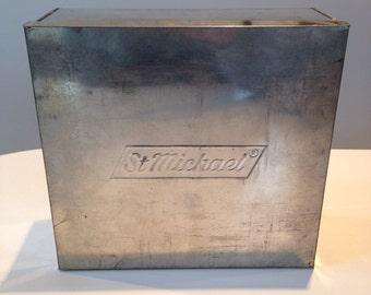 REDUCED Rare Large Vintage 1950s St Michael Square Metal Cake Tin