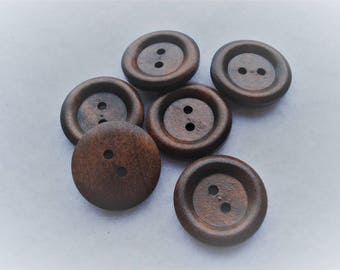 25mm Wooden Sewing Buttons, 2-Hole Round Dark Brown Buttons, Pack of 15 Wooden Buttons, W2504