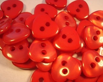 13mm Red Heart Shaped Resin Buttons, 2-Hole Red Buttons, Pack of 15 Red Heart Buttons H1301