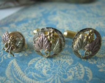Outstanding Vintage 12kt Black Hills Gold Cufflinks and Tie Pin Set Cuff Links