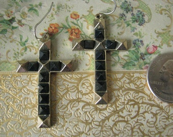 Rockin 1980s Large Vintage Black and Gold Spike Cross Earrings 1980s Punk