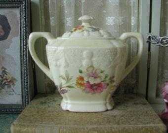 Antique Crooksville China Embossed Fruit Floral Transfer Sugar Pot Sugar Bowl