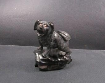 Asian black carved Foo dog Pekingesedog