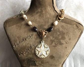 1920s carved mother-of-pearl star garnets baroque pearls repurposed vintage bracelet assemblage necklace ooak by Alpha Female Studio