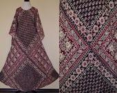 Vtg 70's OS KAISER India Pakistan Gypsy Goddess burgundy/black/tan earthy floral block print soft cotton gauze angel wing slv Maxi dress