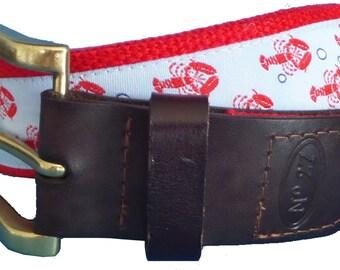 Lobster Leather Belt / Leather Belt / Nautical Belt / Preppy Webbing Belt Men, Women and Children/Lobster Trails Ribbon on Red Webbing