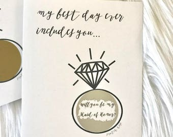 will you be my Maid of Honor? - scratch off card - black white - hipster modern wedding