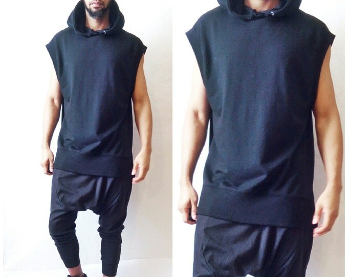 Dropped Shoulder Tunic Hoodie Oversized Hoodie Goth Punk All Black Sleeveless