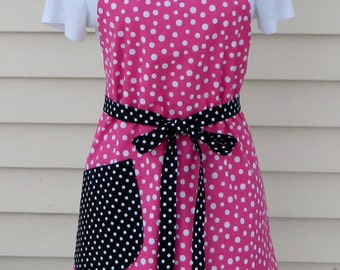Ladies Reversible Polka Dots Apron Pink and Black Apron Butterfly Apron Butterfly Lovers Polka Dot Lovers Winter Trends Womens Bakers Gift