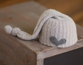 Newborn Upcycled Hat READY TO SHIP Sleep Cap Elf Hat Newborn Boy Hat Girl Hat with Heart Neutral Light Gray Hat rts Newborn Photography Prop