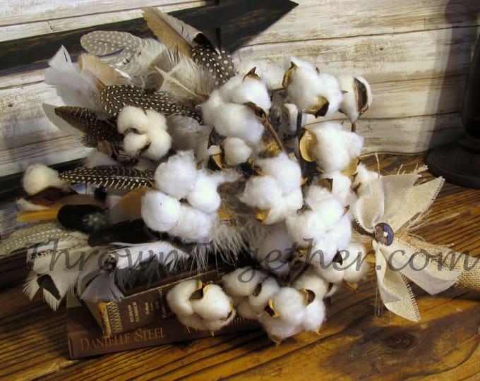 Rustic Cotton & Feather Wedding Bouquet, Cotton Burlap and Lace Bouquet, Farmhouse Cotton Bouquet, Farmhouse Cotton Decor Centerpiece