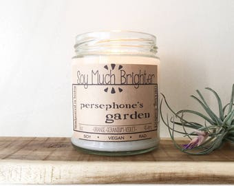 Persephone's Garden: Orange + Geranium + Violet. Spring scents, Vegan Candles, Garden Candles, Gifts for her, Flower Candles, Grass Candles