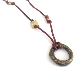 Sliding Knot Adjustable Distressed Brown Leather Necklace with Hammered Brass Ring and Flower Jade accents