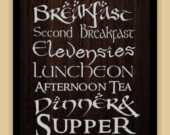 Hobbit Meals Lord of the Rings TYPOGRAPHY modern print poster