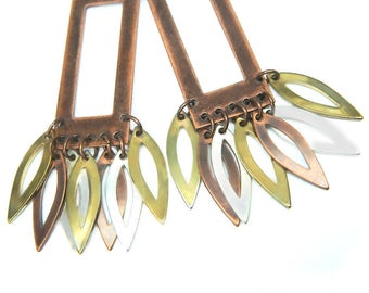 Mixed Metal Dangle Chandelier Earrings Copper Brass Silver Vintage Collectible Jewelry For Women Pierced Earrings Mixed Metal Gift Idea