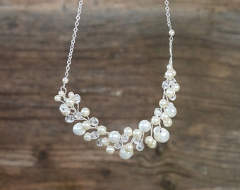 bridal jewelry Bridal Swaroski pearl necklace bridal crystal statement necklace Wedding jewelry jewelry cream white freshwater pearl jewelry