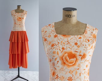 Vintage 70s Embroidered Maxi Dress -1970s Orange Long Gown - Sevilla Dress