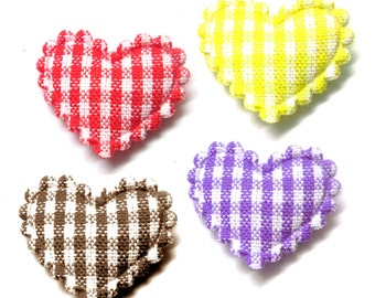 "100pcs x 3/4"" Assorted Gingham Cotton Heart Padded/Appliques - Red/Yellow/Brown/Purple"