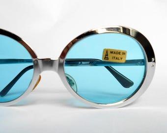 Vintage sunglasses metallic silver italian