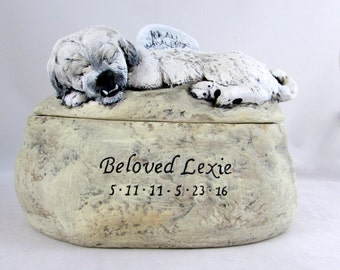 Ceramic Engraved Custom Breed with teeth Painted Cremation Urn - hand made pet urn