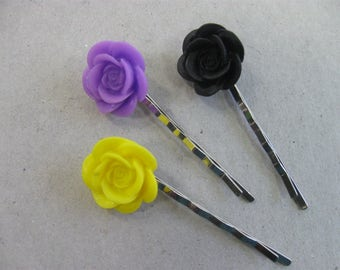 Flower Hair Pin Clips, Floral Hair Accessories, Girls Hair Clips, Flower Girl Gift