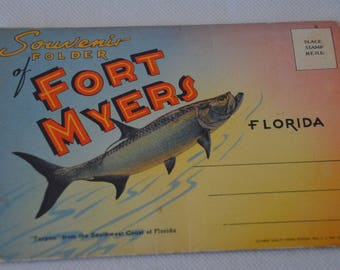 eb2141 Vintage Fold-Out Postcards Souvenir of Fort Myers FLORIDA 18 Images Total. AS IS: Part of outside portion is missing....