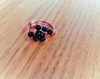 Gemstone Ring, Black Onyx Ring, Wire-Wrapped Ring, Copper ring, Black Onyx Gemstones Ring, Size 6.5 Ring, Handmade Ring