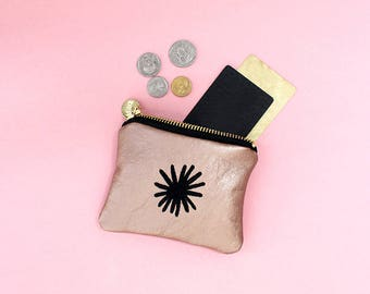 Star Embroidered Coin Purse - Pattern Money Pouch - Genuine Leather