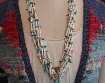 Antique 1930's Navajo Heishi & Turquoise Necklace with Jaklas
