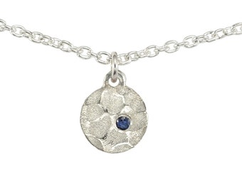 WINTER LAKE Necklace with Natural Blue Australian Sapphire- hammered & textured round disc pendant