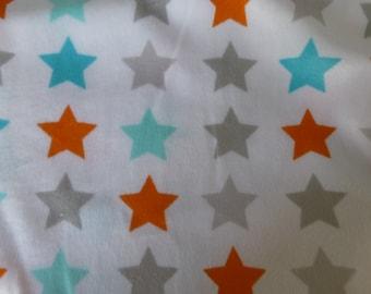 "White with Orange*Grey*Aqua Stars Smooth Fleece Fabric ~ Blankets*Nursery*Home Decor ~ 60"" x 36"""