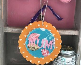 Decorative 'Mum' felt flowers