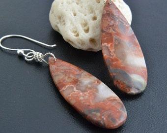 Natural Stone Earrings, Sterling Silver, Jasper Dangle, Argentium, Multicolor Stone, Handmade, Silver Jewelry, Happy Cats Designs
