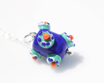 Blue and Orange // Orange and Blue // Colorful Necklace // Funky Necklace // Lampwork Necklace // Glass Pendant Necklace // Handblown Glass